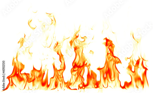 Fotobehang Vuur Fire flames isolated on white background