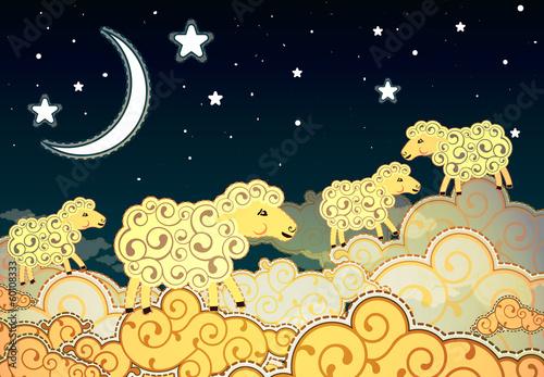 Cartoon style sheep walking on clouds at night