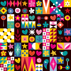 hearts, stars and flowers pattern