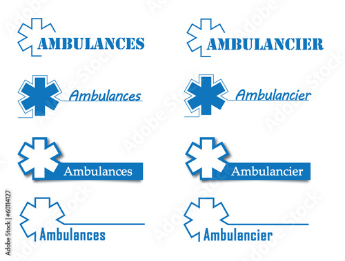 Logo ambulances, ambulanciers.