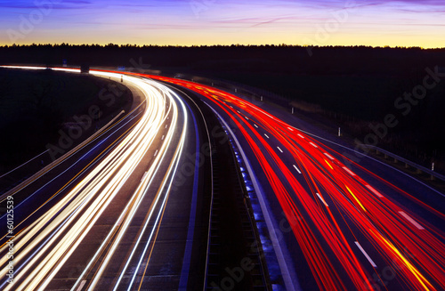 Fotografía  Autobahn bei Nacht