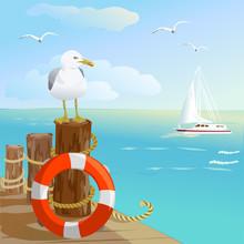 Sea, Gull, Pier, And Lifebuoy