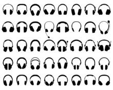 Black Silhouettes Of Different Headphones, Vector Illustration