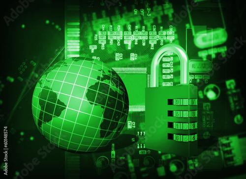 In de dag Opspattend water Futuristic integrated circuit, code lock and globe