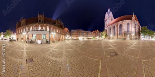 Fotografia  Hannover Marktplatz. Night 360 degree panoramic composition.