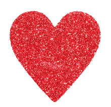 Glitter Red Heart Isolated On White. Valentines Day. Macro.