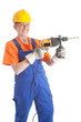 female builder with boring machine thumb up