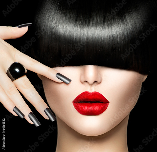 Poster - Beauty Girl Portrait with Trendy Hair style, Makeup and Manicure