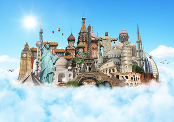 Fototapeta Travel the world monuments clouds concept