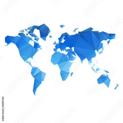 Spoed Fotobehang Wereldkaart Triangular World Map vector file