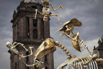 Fototapeta na wymiar Skeletons of Traditional Day of the Dead, Mexico