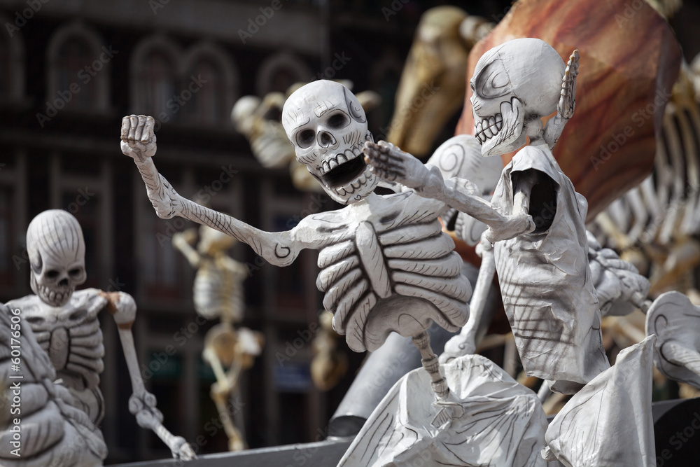 Photo Art Print Skeletons Of Traditional Day The Dead Mexico