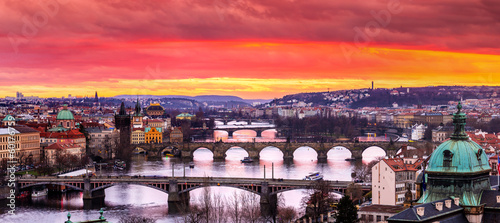 Printed kitchen splashbacks Eggplant Bridges in Prague over the river at sunset