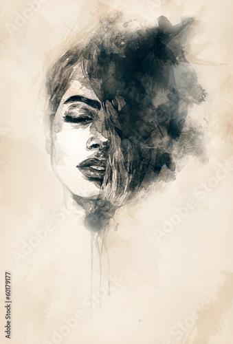 Poster Portrait Aquarelle Beautiful woman face. watercolor illustration
