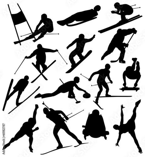 Obraz na płótnie Silhouettes of Winter Sports