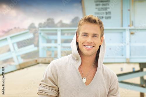 Fotografie, Obraz  Smiling man at beach