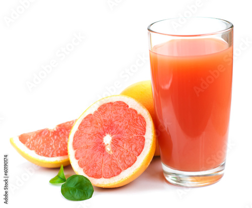Staande foto Sap Grapefruit juice and ripe grapefruits