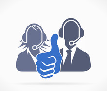Call Center Silhouette Symbol With Thumb Up