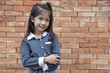 Little Asian girl posing against brick wall.