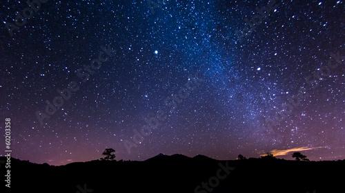 Spoed Foto op Canvas Aubergine Nachtlandschaft auf Teneriffa