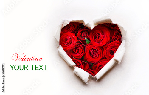 Fotografie, Obraz  Paper Valentines Heart with Red Rose Flowers Bouquet