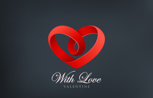 Logo Heart Looped Ribbon Abstr...