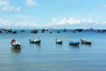 Fototapeta na wymiar Landscape with fishing boats, Vung Tau, Vietnam