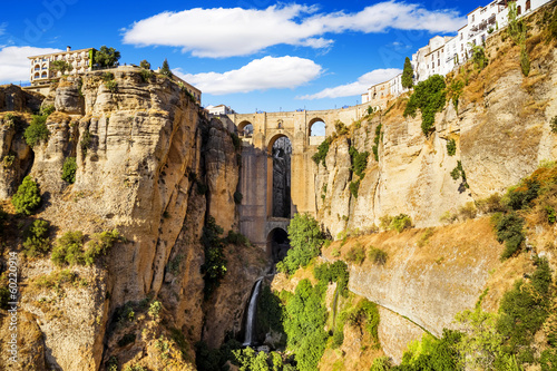 Bridge of Ronda, a famous white villages of Malaga, Spain a Canvas Print