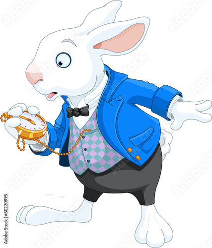 Stickers pour porte Magie White Rabbit with pocket watch