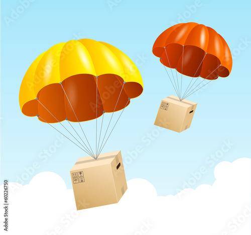 Carta da parati Vector parachute background. Air shipping concept