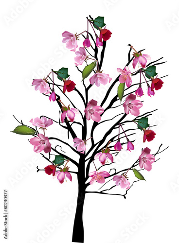 Cherry tree with large pink flowers on white buy this stock vector cherry tree with large pink flowers on white mightylinksfo