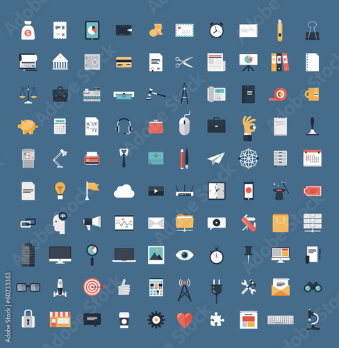 Fotografie, Obraz  Business and finance flat icons big set
