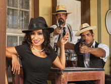 Smiling Woman With Whiskey Bootleggers