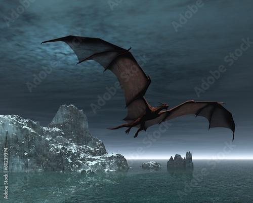 Zdjęcie XXL Czerwony smok nocą