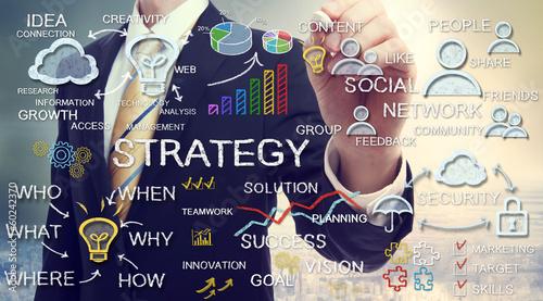 Obraz Businessman drawing strategy concepts - fototapety do salonu