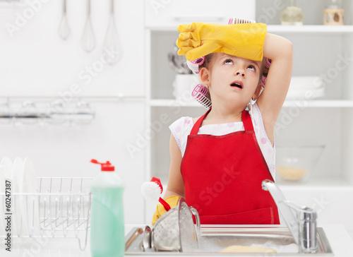 Murais de parede Little housekeeping fairy tired of home chores