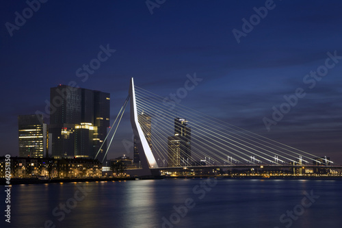Deurstickers Rotterdam Erasmus Bridge in Rotterdam on the Nieuve-Maas River
