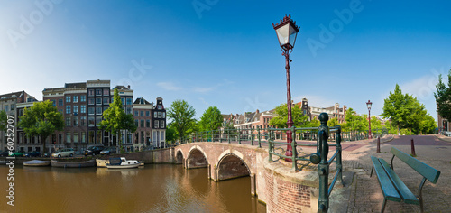 Fotografie, Obraz  Amsterdam tranquil canal scene, Holland