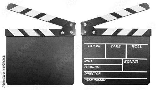 Fotografia Movie clapper board or clapper-board set isolated on white