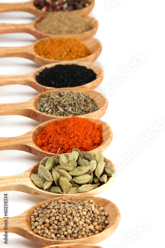 Photo Stands Herbs 2 Assortment of spices in wooden spoons, isolated on white