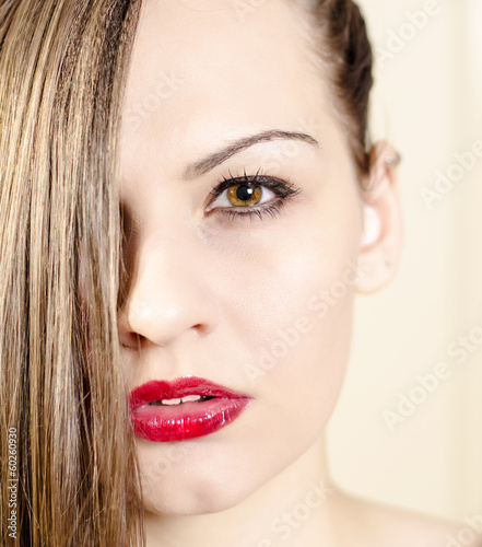 Foto op Aluminium Kapsalon Portrait of a beautiful woman with make up