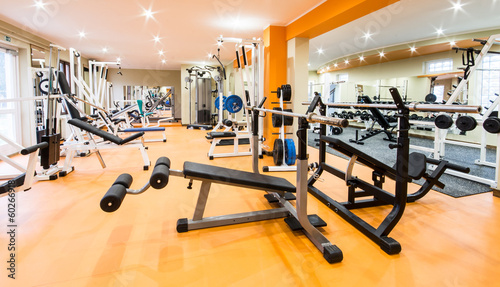 Foto op Plexiglas Fitness Interior view of a gym with equipment.