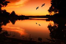 Sunset Silhouette Lake