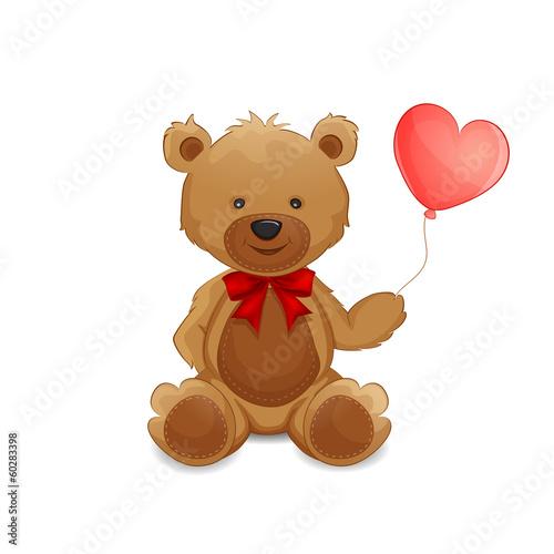 Cute teddy bear with balloon #60283398
