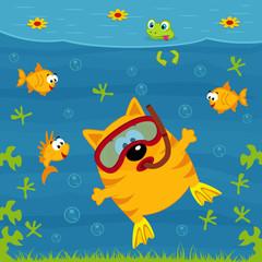 cat diver - vector illustration