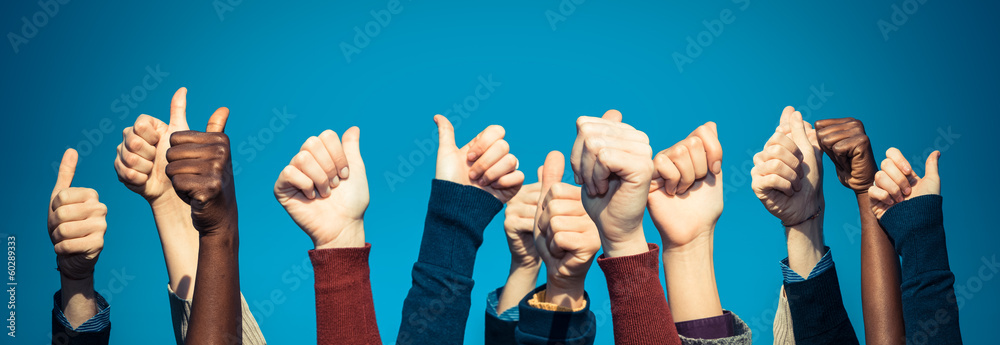 Fototapety, obrazy: Multiracial Thumbs Up Against Blue Sky