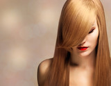 beautiful young woman with elegant long shiny hair