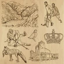 SCANDINAVIA Set No.1 - Collection Of Hand Drawn Illustrations