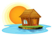 A Nipat Hut In An Island