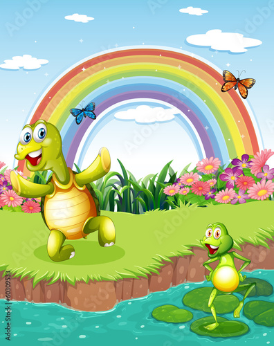 Poster Magic world A turtle and a frog playing at the pond with a rainbow above